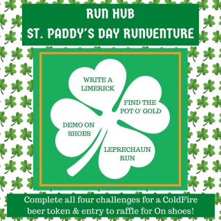 Join us this week, March 14-20, for virtual St. Paddy's Day-themed challenges! Complete all four challenges and post about them on social media, tagging @runhubnw and @on_running. You'll earn a beer token you can redeem at @coldfire_brewing in Eugene any time and be entered into a raffle for a chance to win a free pair of On shoes and other prizes!  Now for the challenges! ☘️Demo a pair of On shoes. Check out a pair of shoes from Run Hub any time during the week and take them for a spin. ☘️Write a running related limerick. ☘️Find the Pot 'o Gold. Follow a series of riddles to find the hidden pot of gold in Eugene. Swipe to read the riddle. ➡️ ☘️Leprechaun Run. Go for a run or walk on Pre's Trail to Rainbow Drive. Do this on St. Patrick's Day, March 17, between the hours of 7-8 am or 5-6 pm and you'll find a leprechaun there! Take a socially-distanced picture with said leprechaun for an extra raffle ticket!  Remember, complete each challenge and post about it on social media and tag us and On to receive your beer token (which you'll pick up at Run Hub) and be entered into the prize raffle. Extra credit for photos including St Paddy's Day flair! 🍀  ⠀⠀⠀⠀⠀⠀⠀⠀⠀⠀⠀⠀ #runhubrunventure #onrunning #stpaddysrun