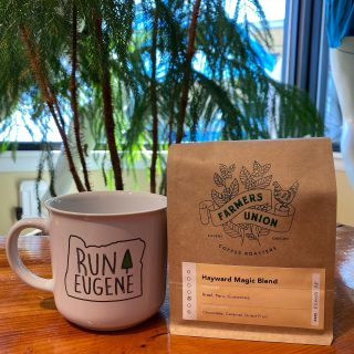 Doing Sunday morning right with our new Run Eugene coffee mugs and Hayward Magic roast from @farmersunionroasters (sold exclusively at Run Hub)  #runeugene #haywardmagic #eugeneoregon #olympictrials #trackandfield
