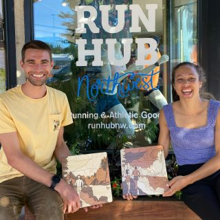 Isaac Updike and Justine Fedronic have roots in Eugene. Both ran for Team Run Eugene; Justine from 2014-2016 and Isaac from 2015-2018.   Justine created the artwork you see them holding.  The inspiration for those pieces was taken from Pre's trail along the canal.  Those and several other pieces of Justine's art will be for sale at Run Hub through the Olympic Trials.   Justine hung up her spikes earlier this year after representing France in the 2016 Olympics (800 and 4x400). Isaac will be competing in the first round of the Steeplechase on Monday night.  He has the fastest American steeple time this year.  Thanks for the amazing artwork Justine and best wishes Isaac!  #runnerart #runningart #runnerartist  #olympictrials #trackandfield #runeugene #prestrail #tracktownusa #eugeneoregon
